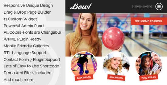 bowl responsive bowling center wordpress theme