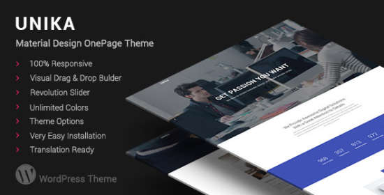 unika responsive material design wordpress theme