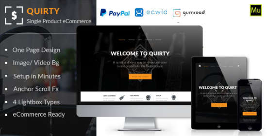 quirty single product muse ecommerce template
