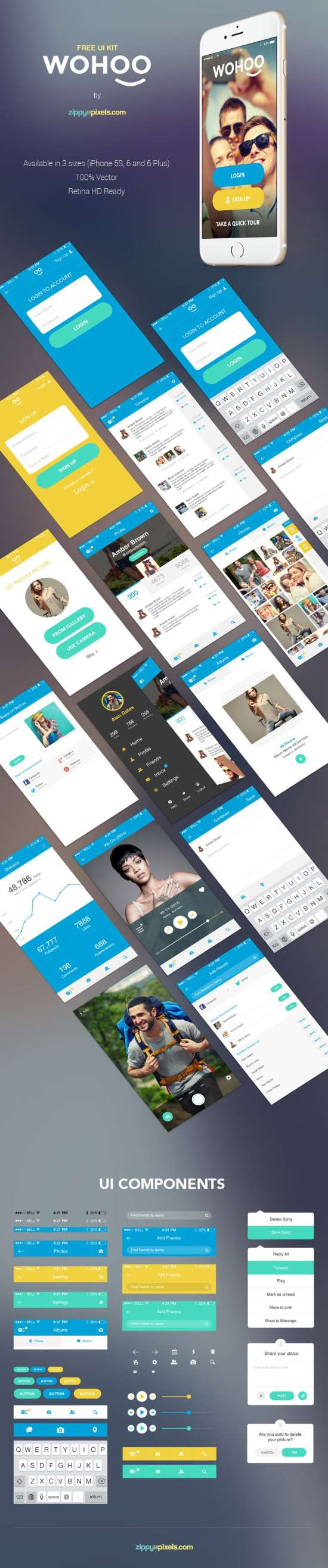 wohoo_free_mobile_app_ui_kit