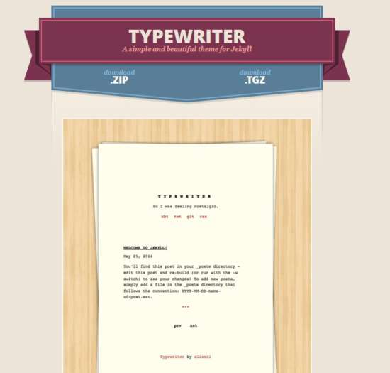 Typewriter Jekyll Theme