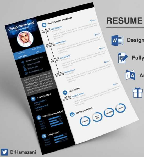 unique word resume template - Free Cv Templates On Word