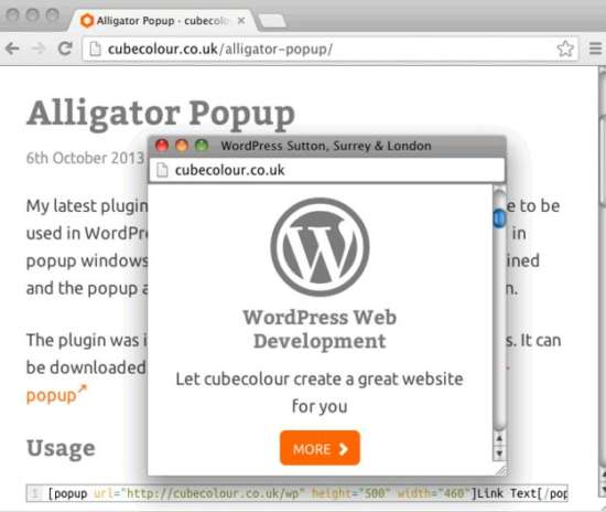 Alligator Popup plugin