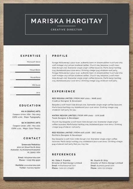 Modern Resume / CV For Word + INDD  Modern Resume Template Word