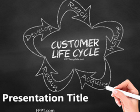Free Chalkboard Customer Life Cycle PowerPoint Template
