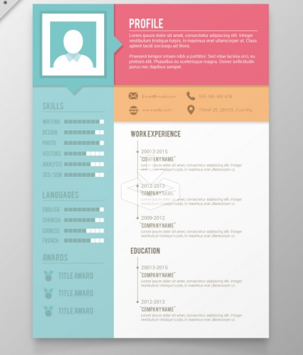 New Colors Resume Template Free Vector
