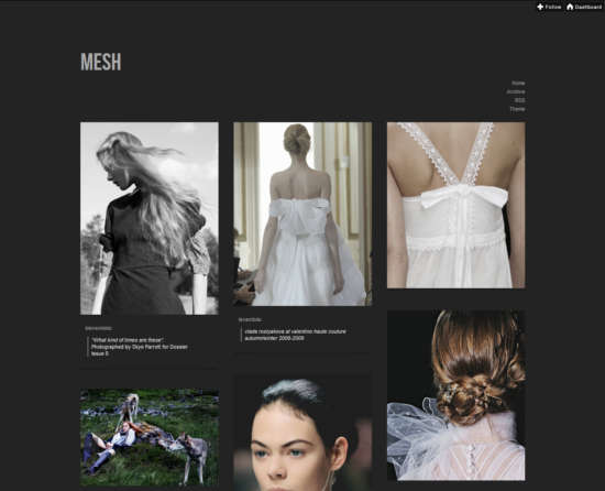 mesh tumblr grid theme