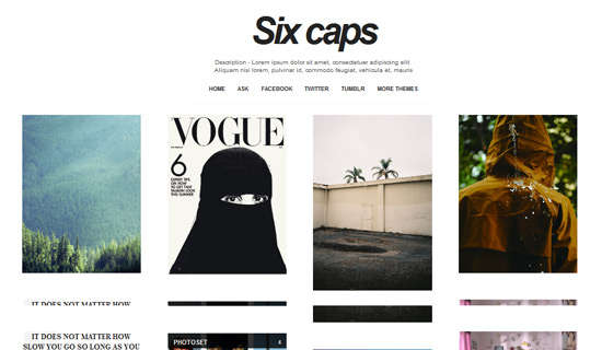 six caps tumblr theme
