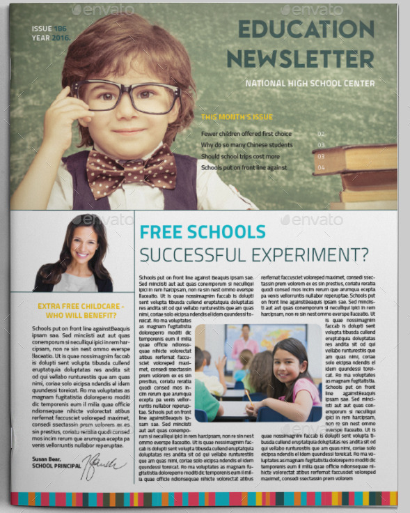 Education School Newsletter  Free School Newsletter Templates For Word