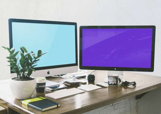 workspace_with_imac_and_apple_display_mockup