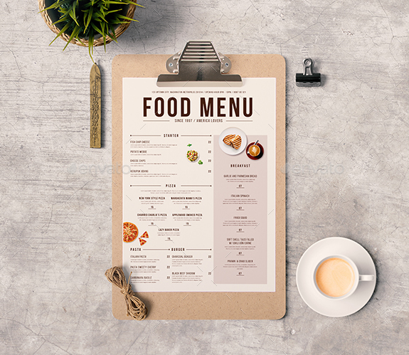 Modern Food Menu  Free Printable Restaurant Menu Template