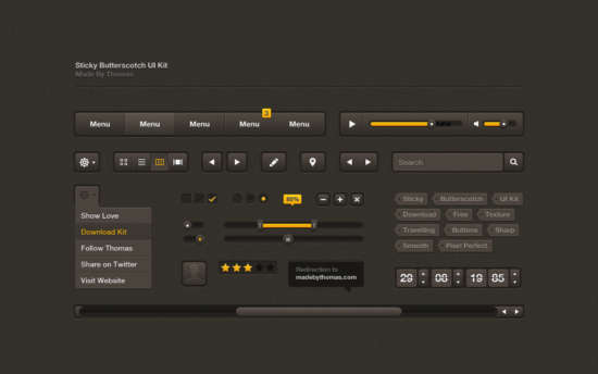 sticky_butterscotch_dark_brown_psd_ui_kit