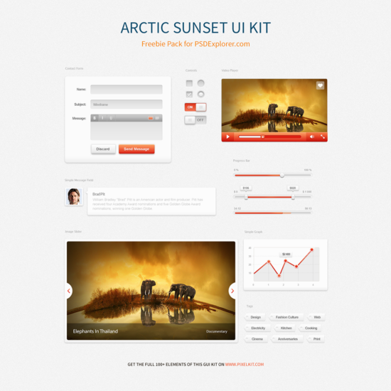 arctic_sunset_gui_kit_psd