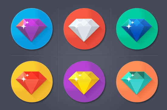colorful_flat_diamond_icons_set_psd
