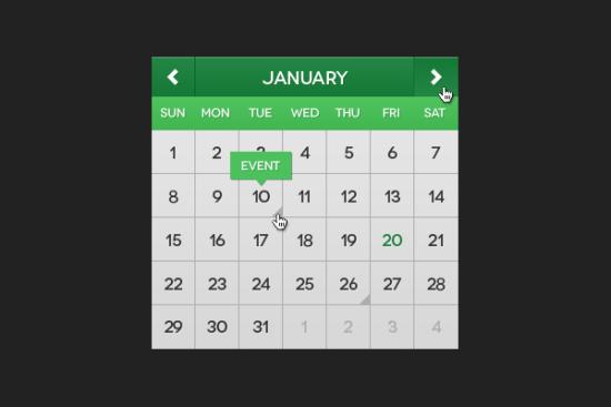 flat_green_mini_calendar_psd