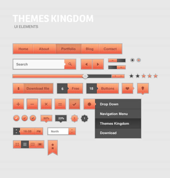 peach_and_gray_ui_kit_psd