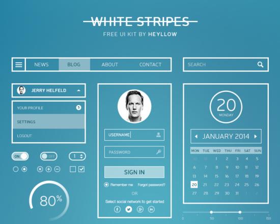 white_stripes_ui_kit_psd