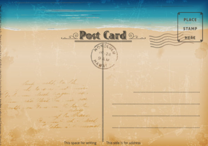 Vintage Sea Elements Post Card  Postcard Template Free Printable