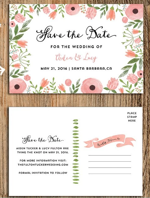Printable DIY Save The Date Postcard