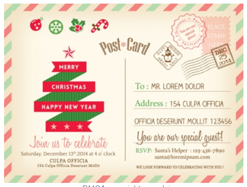 Retro christmas postcard vector template