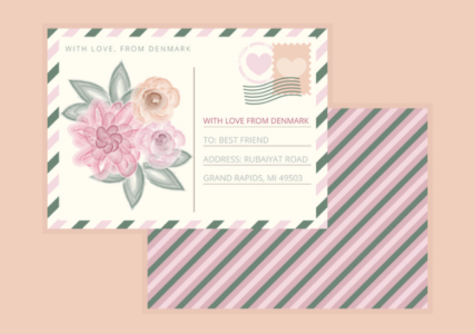 Beautiful Rose Vector Postcard