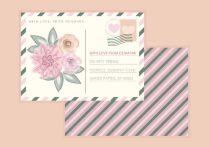 Beautiful Rose Vector Postcard