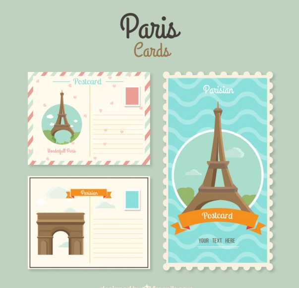 Paris cards template Free Vector