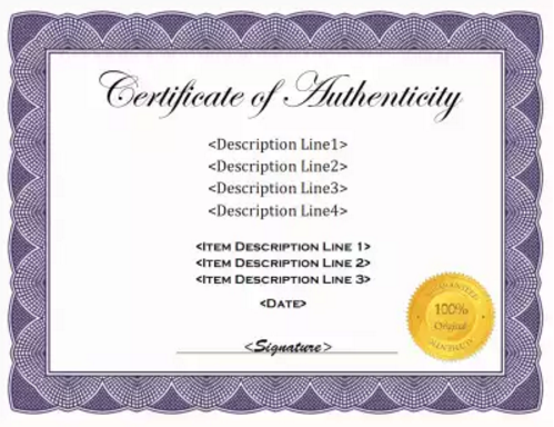 Printable Authenticity Certificate