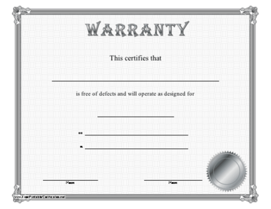 5 printable certificate of authenticity templates doc pdf eps warranty certificate template yelopaper Choice Image