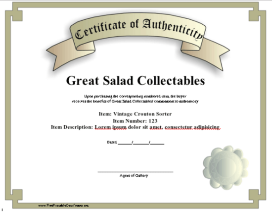 artist certificate of authenticity template - 5 printable certificate of authenticity templates doc