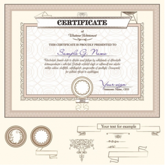 Certificate template and decoration borders