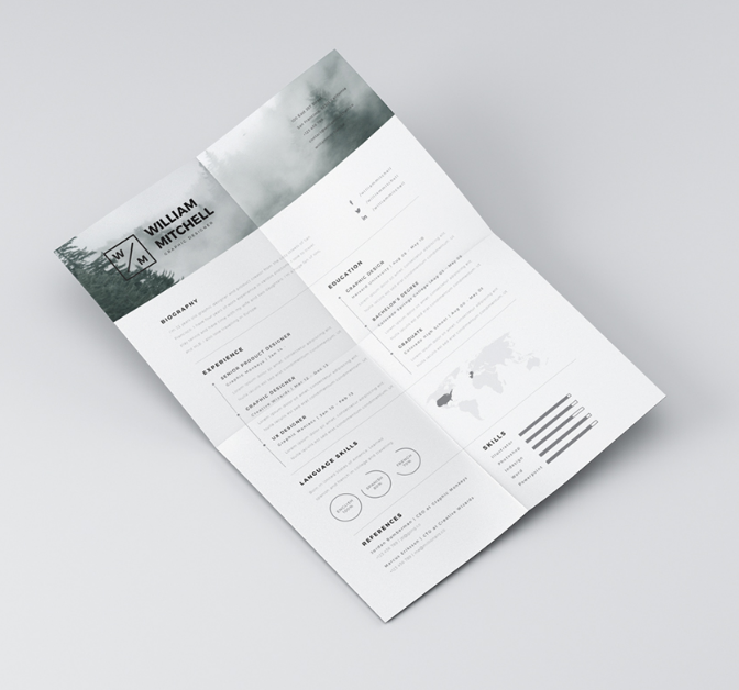 Minimalistic and Clean Resume Template for Photoshop and Illustrator