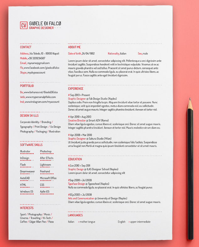 Simple Resume Template by Gioele Di Falco