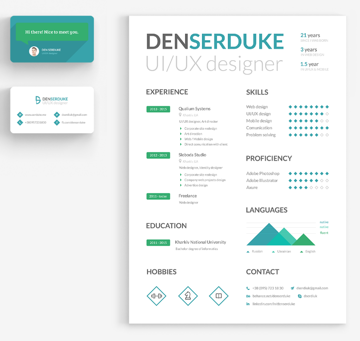 Resume & Business card PSD Template