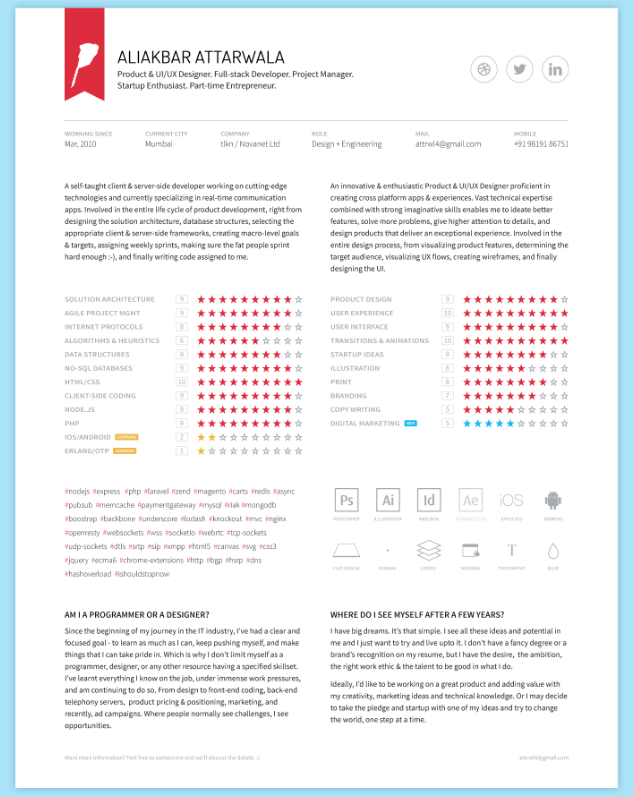 CV Resume, Portfolio Template by Ali Attarwala