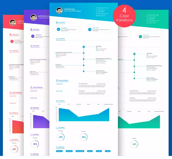 5 Colors Resume CV Template in PSD