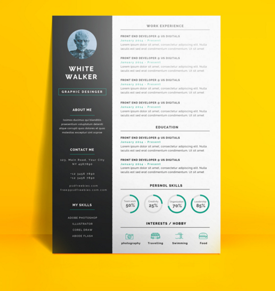 Superbe Simple And Clean Resume By PSDfreebies