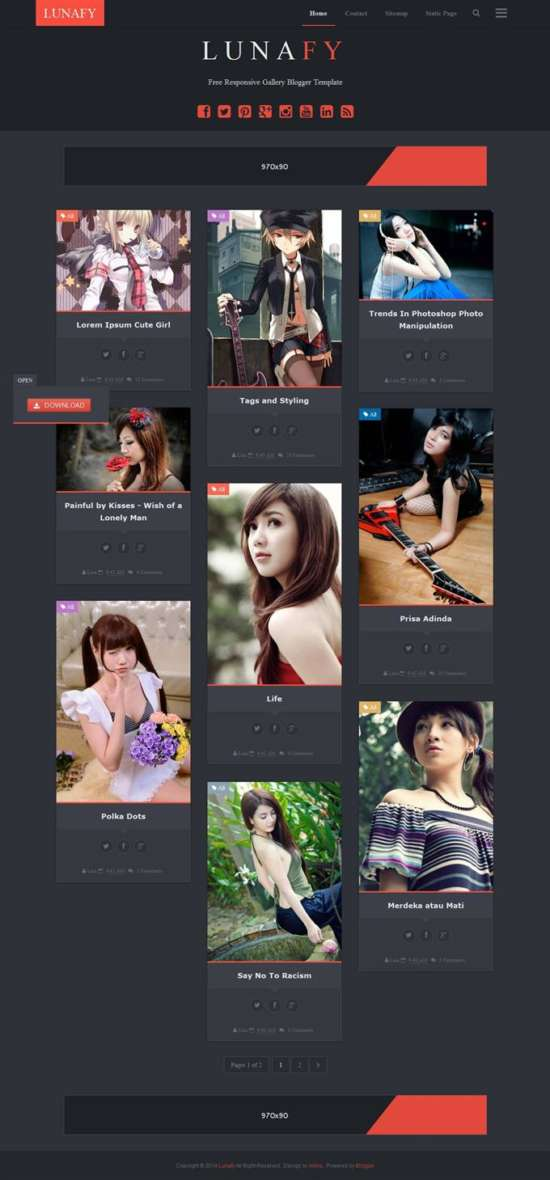 lunafy_dark_blogger_template_screenshot