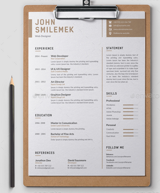 minimal and simple resume cv template