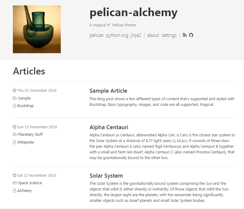 Pelican Alchemy Theme