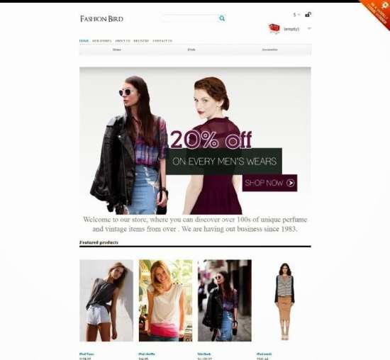 fashion bird free prestashop template