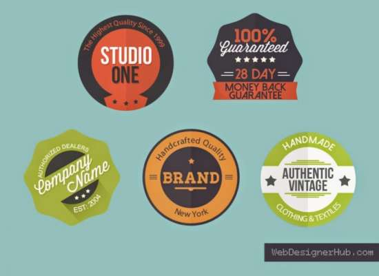 free_5_flat_badges_psd