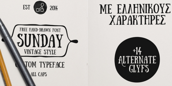 sunday_free_hand_drawn_stylish_font