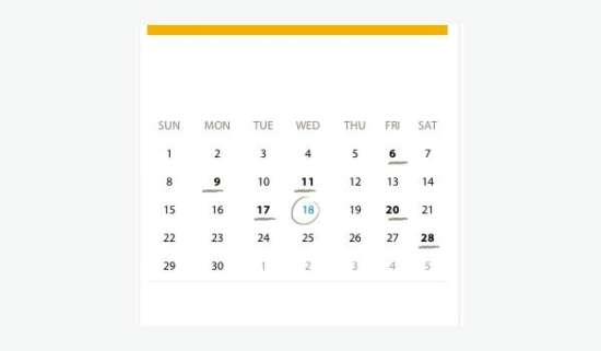 15 Free Css/Html Calendar Element & Templates - Xdesigns