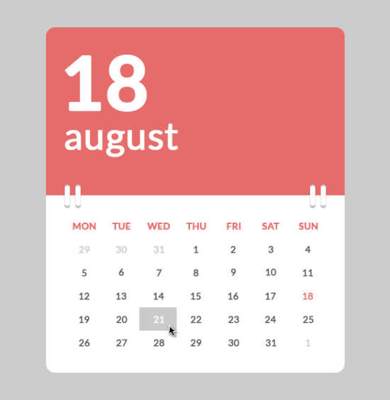 Calendar Ui Design Psd : Free css html calendar element templates xdesigns