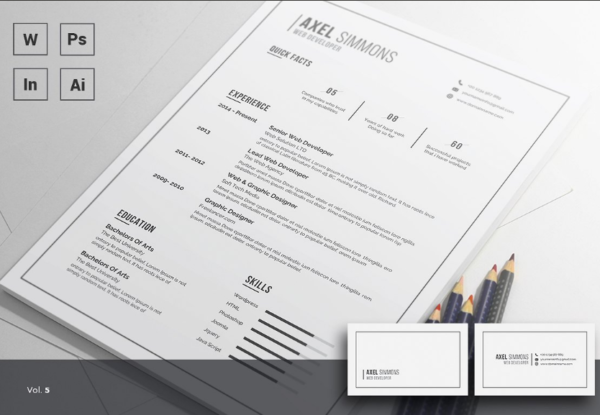 Simple Resume Template In Word / PSD / INDD / AI File Format