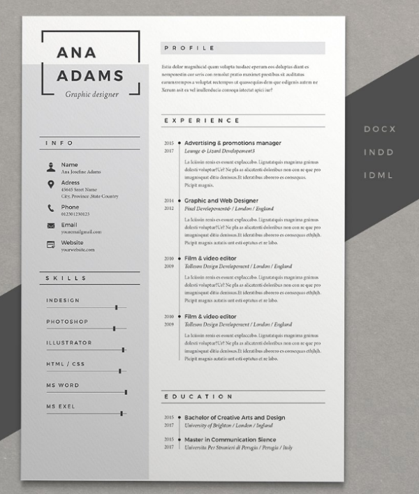 resume ana - Resume Document Format
