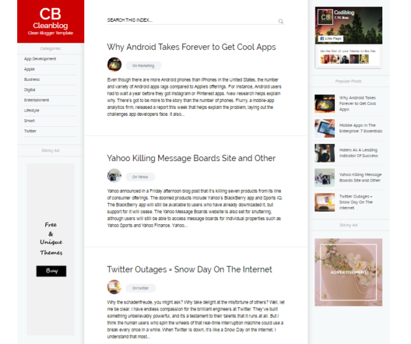 Cleanblog personal and education blogger template