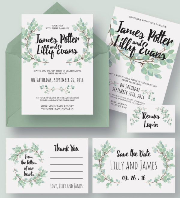 Eucalyptus Wedding Invitation Design