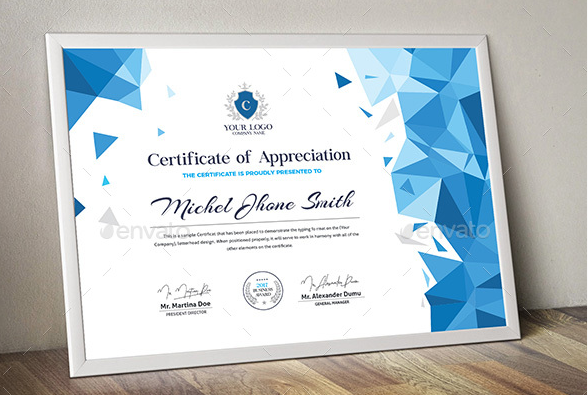 Elegant Orange & Blue Certificate